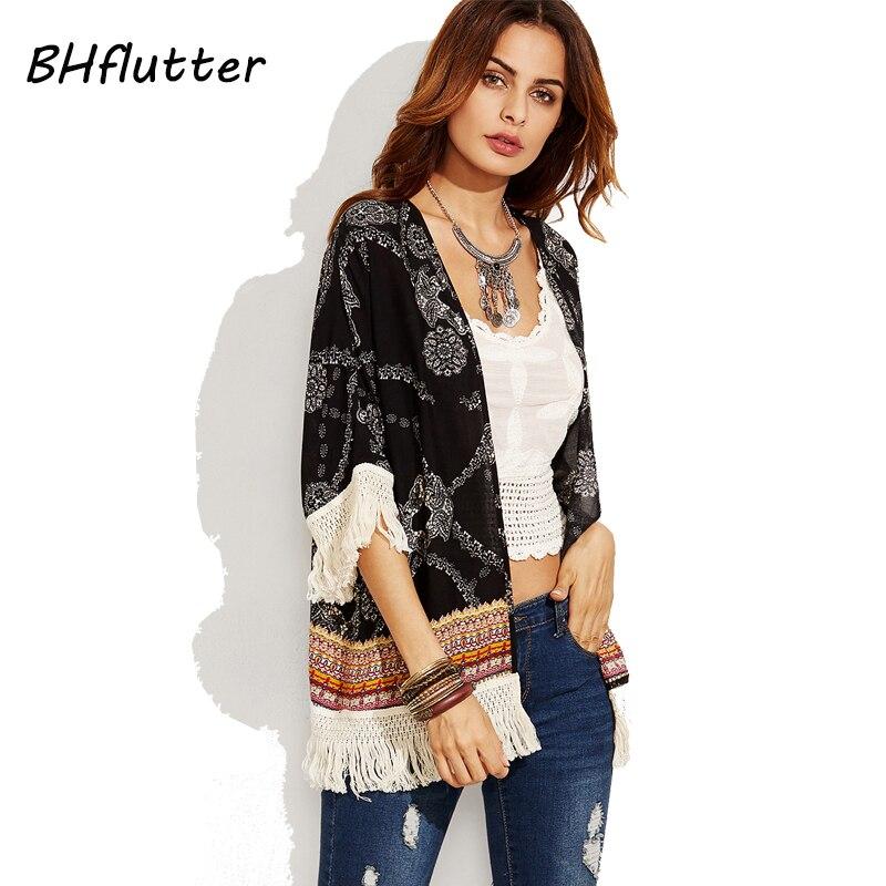 BHflutter 2018 mujeres Blusas media manga borla verano Tops estampado Floral negro Vintage camisas playa Tops Blusas