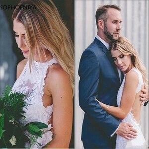 New Arrival Robe de Mariee Romantic Lace Halter Beach Wedding Dress Backless Abito da sposa Trouwjurk 2021 Wedding gowns