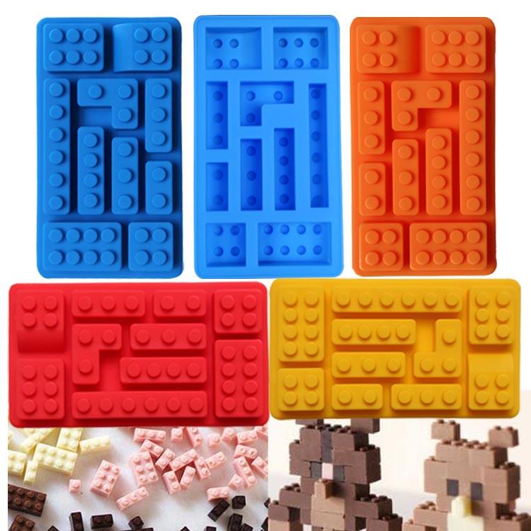 1 STÜCKE Silikonformen DIY Schokolade Eiswürfelschale Kuchen Werkzeuge Fondant Formen Löcher Lego Ziegel Blöcke Geformt Rechteckigen A3