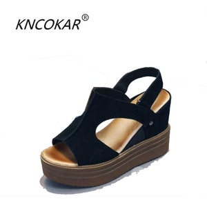 KNCOKAR  Summer new style fashionable and comfortable fish mouth slope heel thick bottom heighten women's leather sandals