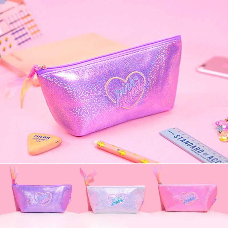 Женский косметический чехол с блестками, Хлопковая Сумка для макияжа с сердечком в Корейском стиле, японская Студенческая сумка-карандаш, Bentoy