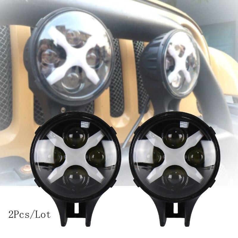 O carro 60w conduziu o spotlight 12/24v 6 inch conduziu a luz auxiliar com os olhos do ângulo de x drl que conduzem a névoa para caminhões fora de estrada 4x4 do veículo 2 pces