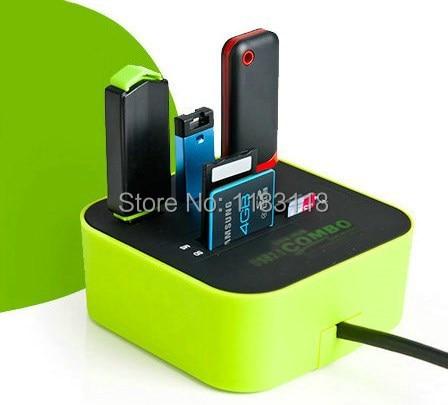 Zimoon Store 3 puertos usb hub 2,0 con Micro lector de tarjetas múltiples para SD/MMC/M2/ accesorios para ordenador de MS MP