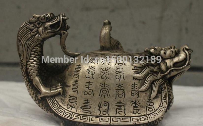 xd 0047 Chinese China Folk Culture Handmade Bronze Silver Statue Dragon incense burner