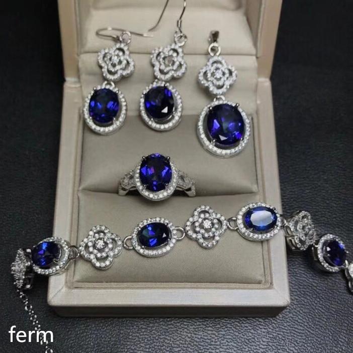 KJJEAXCMY exquisita joyería 925 Plata pura con incrustaciones naturales de Tanzania azul toppel joyería colgante pendientes pulsera 5 Juegos