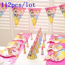 Design à thème princesse Disney Six pièces   Aurore, vaisselle en papier mignonne pailles roses, fête danniversaire, bruit, fourniture de décoration, 112 pièces/lot