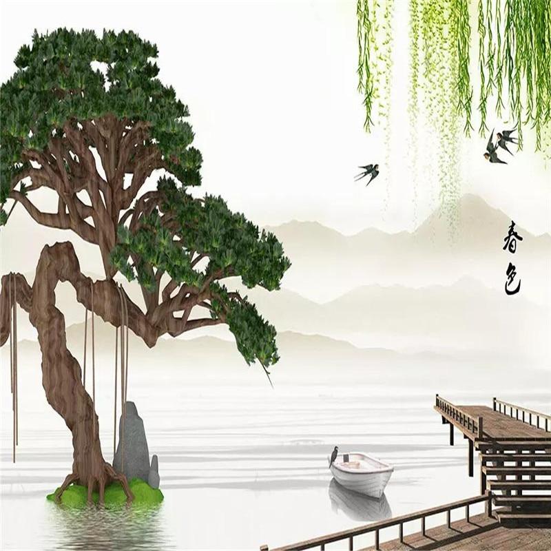 الصينية المشهد الصنوبر الصفصاف المشهد المهنية إنتاج جدارية مصنع الجملة خلفيات جدارية المشارك الصورة جدار