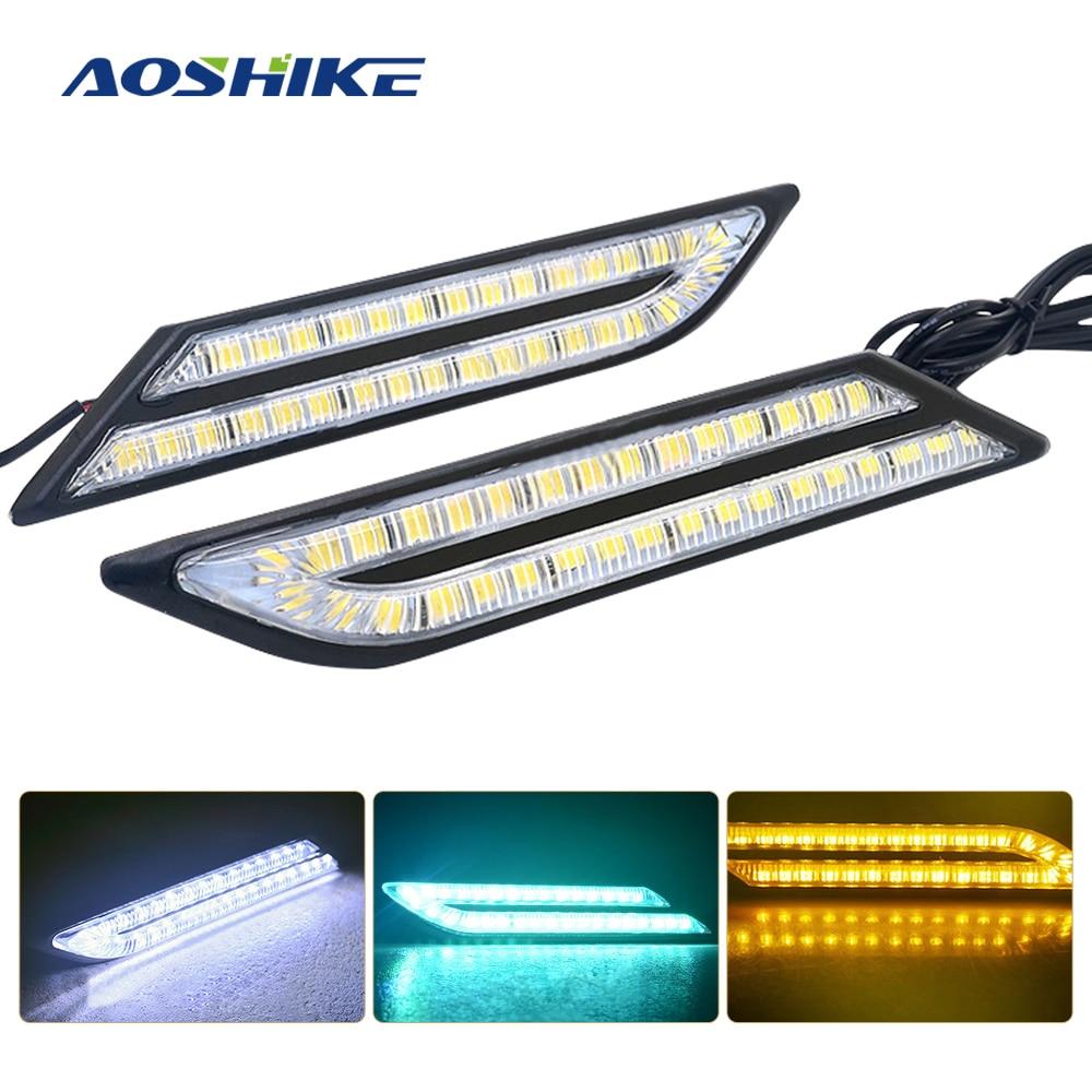 AOSHIKE 2 uds LED DRL Luz de circulación diurna para Auto impermeable hoja estilo coche Universal externo Siganl LED lámparas antiniebla