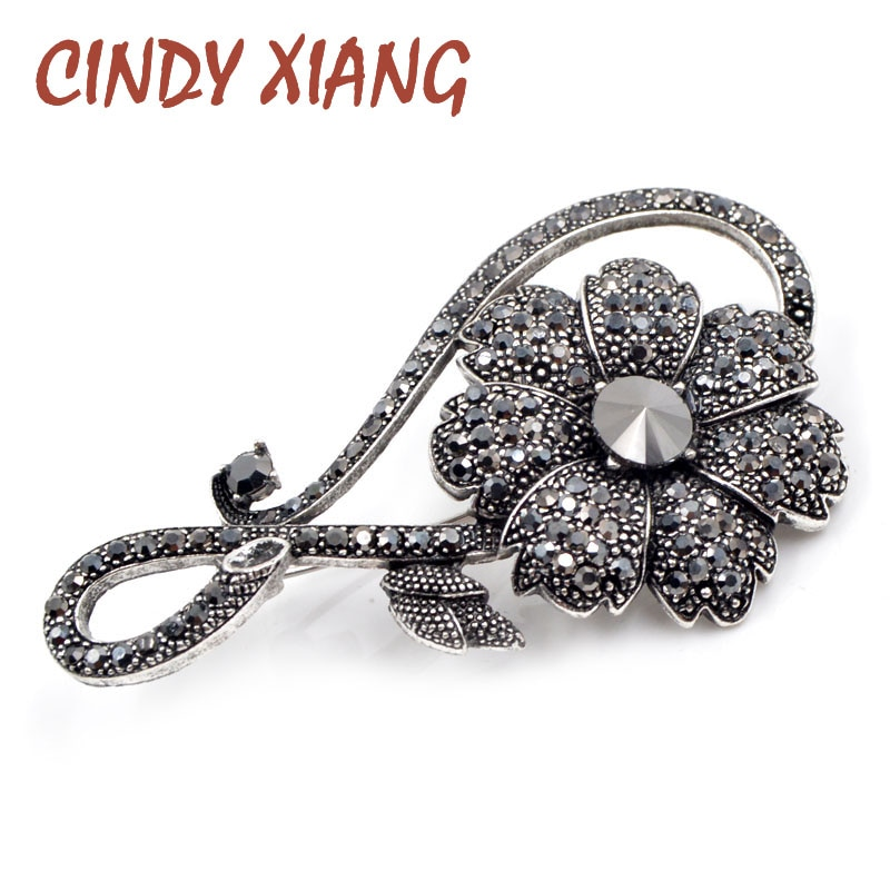 CINDY XIANG Rhinestone Black Flower Brooches for Women Vintage Elegant Large Brooch Pin Winter Coat Sweater Broches High Quality