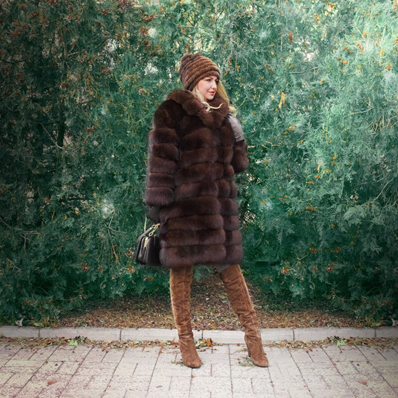 FURSARCAR Detachable Natural Real Fur Coat Women Winter Thick Fox Fur Coat with Big Fur Collar Luxury Strip Sable Color Real Fur