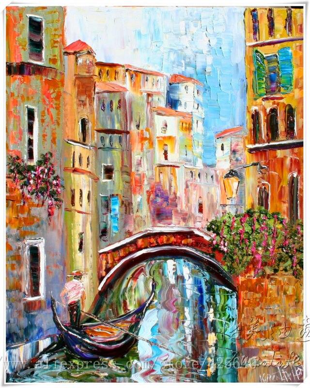 Pintura al óleo italiana de Venecia, pintura al óleo de paisaje sobre lienzo, pintura al óleo de alta calidad, góndola del CANAL de Venecia 3