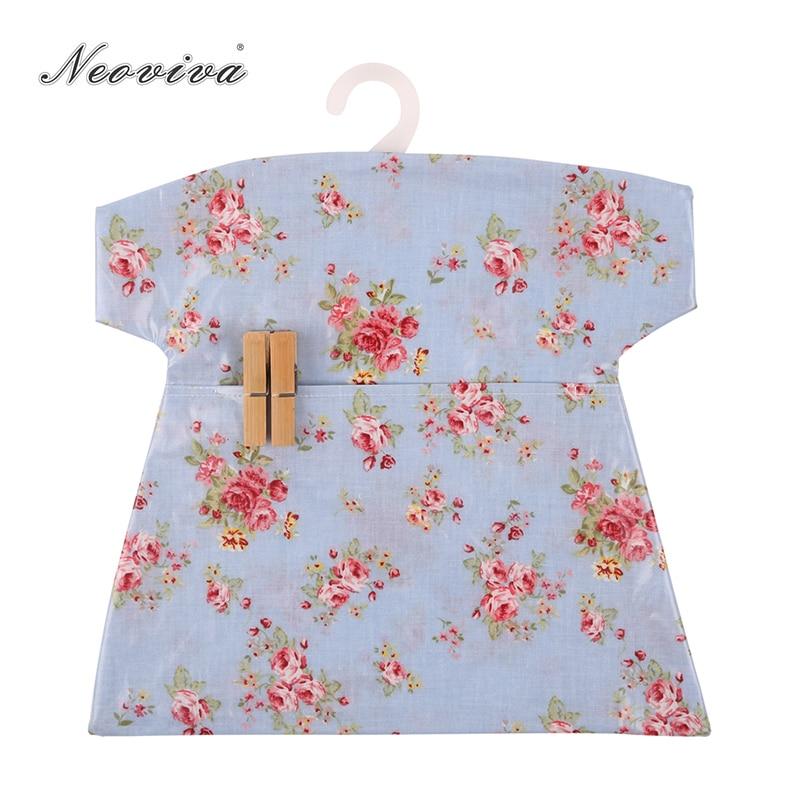 Bolsa de clavija de algodón recubierta de Neoviva PU con gancho de plástico, paquete de 2, balada Floral azul