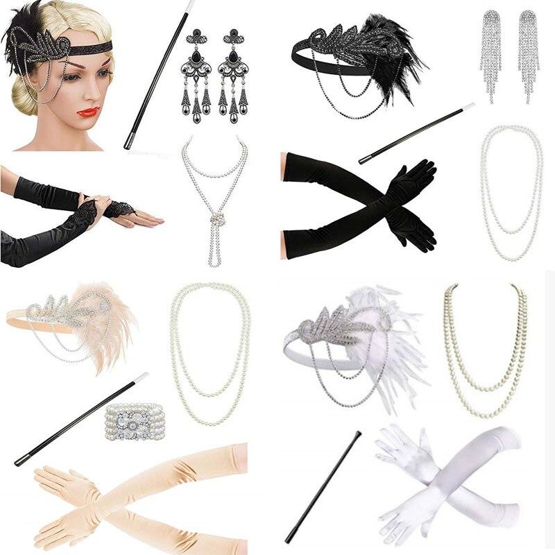 white  1920's Headband Flapper Charleston costume accessories pink nude Headpiece Great Gatsby feather headband