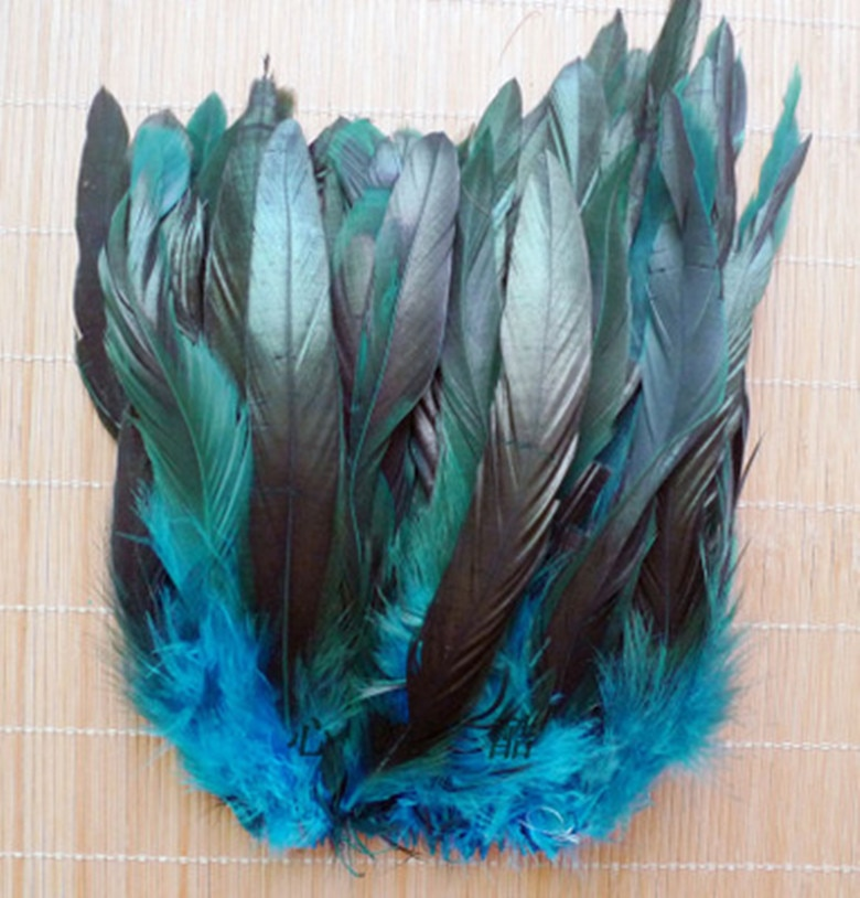New 100PCS beautiful lake blue rooster tail feather 5-7 inches DIY production
