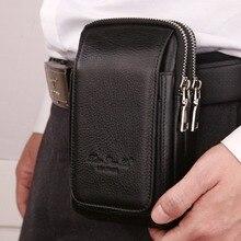 Hommes en cuir véritable taille Pack sac portefeuille avec double fermeture éclair cellule/téléphone portable poche étui à cigarettes porte-monnaie mâle Fanny sacs dargent