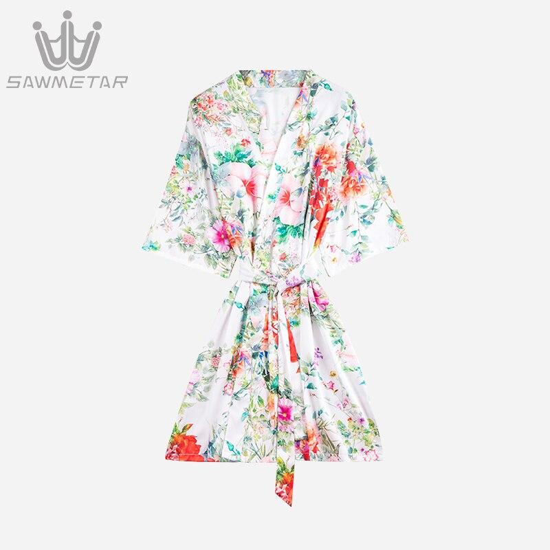 Women Robes Summer Silk Satin Bathrobe Wedding Bride Bridesmaid Robes Female Sexy Sleepwear Bathrobe Nightdress Nightgown