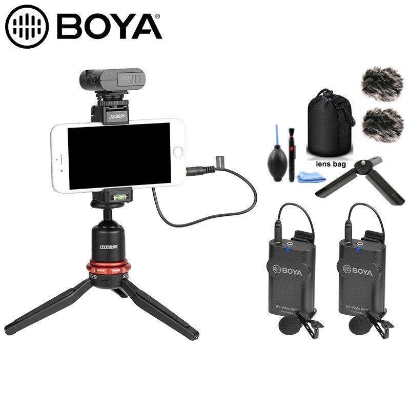 BOYA BY-WM4 Pro micrófono de solapa sistema para Canon Nikon Sony DSLR Cámara iphone android smartphone