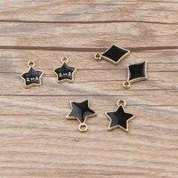10pcslot hot sale gold alloy charms black rhombus smile pentagram charms pendants for bracelet necklace jewelry accessories
