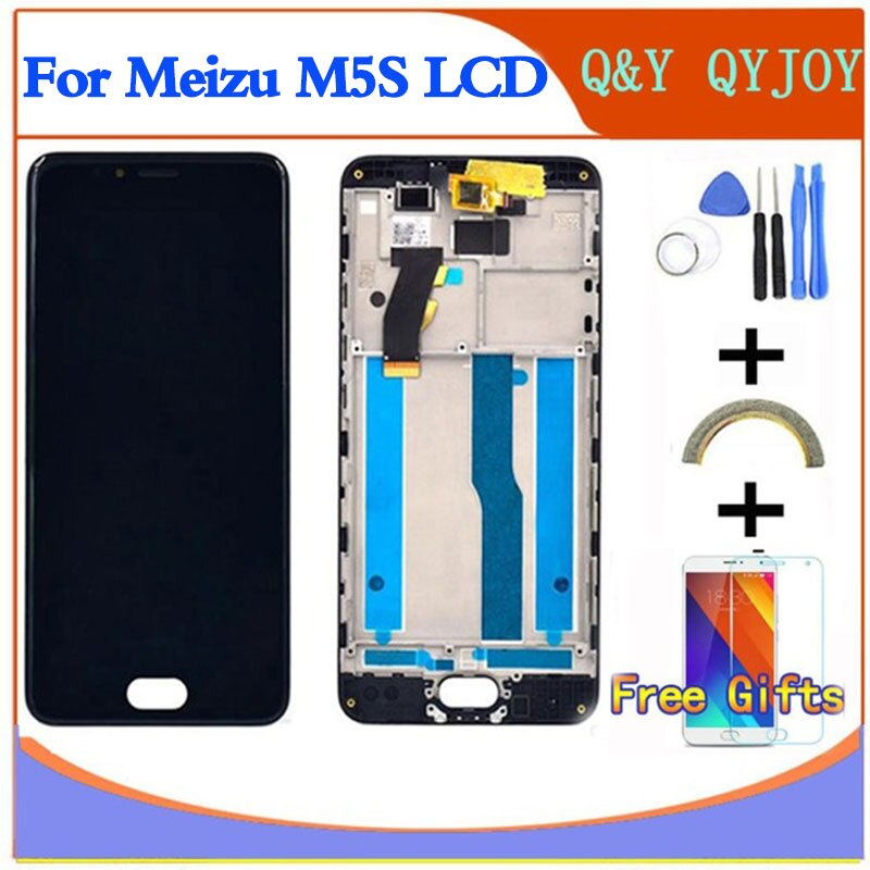 "LCD + marco para 5,2 ""Meizu M5S meilan 5S M612H M612M pantalla blanca/negra + digitalizador de pantalla táctil para MEIZU M5S mini LCD"
