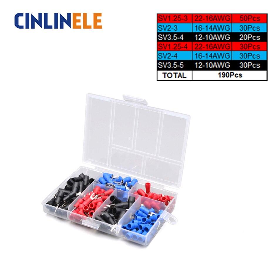 190 Uds 6 kit de conector de anillo Terminal de crimpado diferente, cable de latón, Terminal de engarce aislado 22-16AWG 16-14AWG 12-10AWG