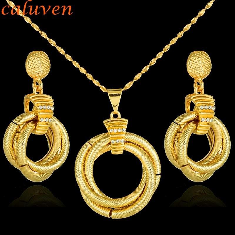 Dubai africano de regalo para mujer regalo para regalo etíope, nigeriano de oro conjuntos de joyería de color redondo con juegos de collares de piedra CE052