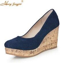 Escarpins à plate-forme compensées bleu marine pour femme, motif liège, chaussures confortables pour femmes, chaussures décontractées, taille 44 45