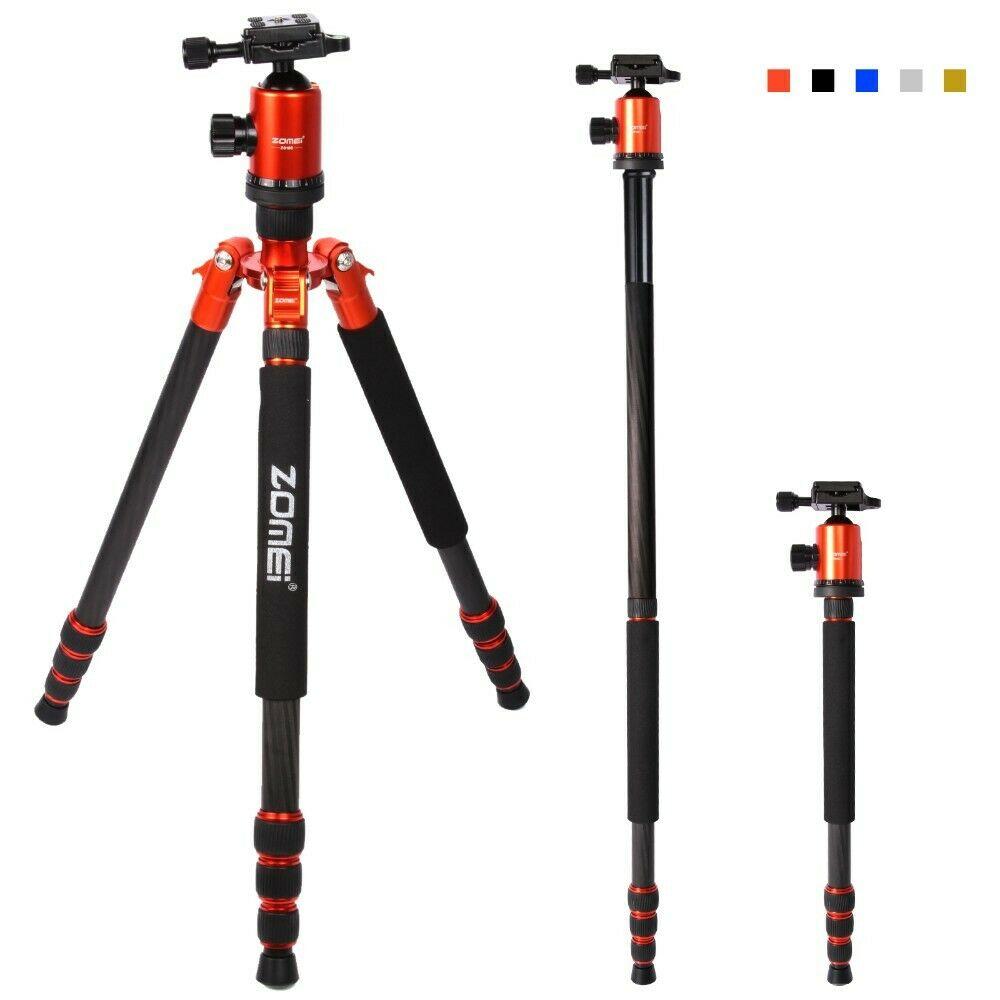 Zomei-حامل ثلاثي احترافي للسفر ، طقم كاميرا من ألياف الكربون ، حامل أحادي ، مع علبة ، Z888C