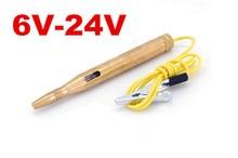 Par dhl fedex 100 pcs/lot DC 6 V-24 V moto Auto voiture Circuit doré testeur de tension stylo dessai 60 CM avec Clip