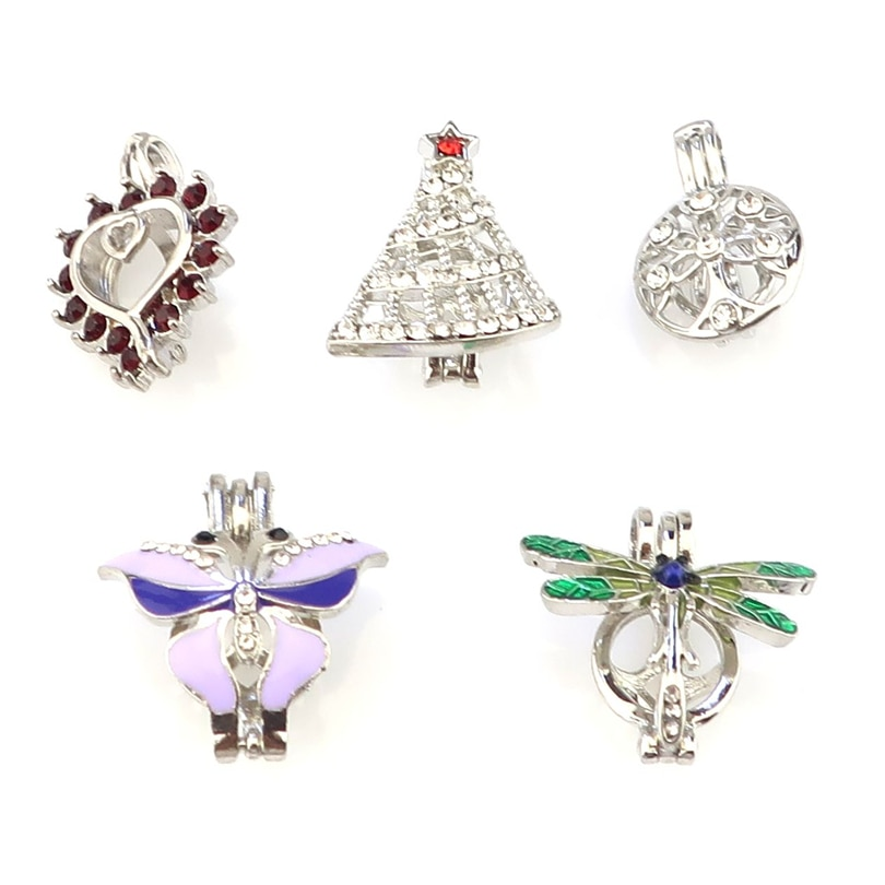5PCS Mix Enamel Rhinestone Beauty Pendant Fairytale Party Essential Oil Diffuser -Cute Gift