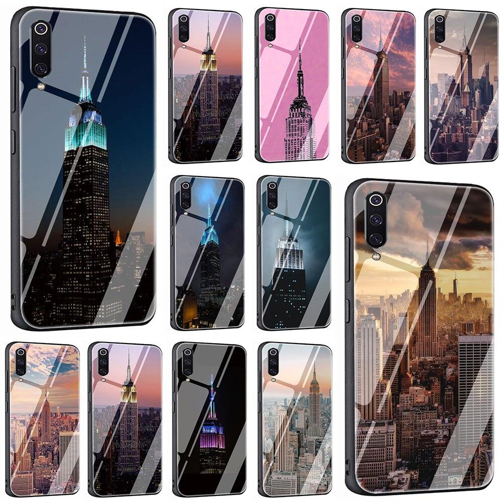 Funda de teléfono de cristal templado de la ciudad de Nueva York para Xiaomi Mi 8 9 Redmi 4X 6A Note 5 6 7 Pro Pocophone F1