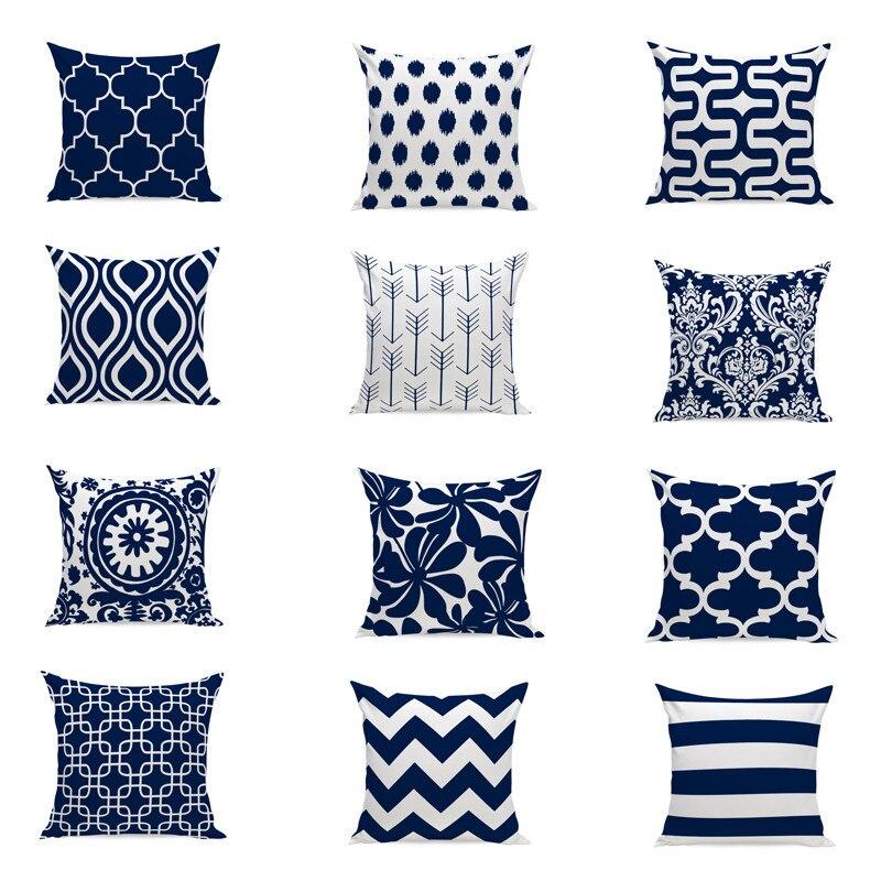 Nórdico almofada azul marinho capa de almofada decoração para casa geométrica almofadas decorativas lance caso almofadas para o sofá 45x45cm