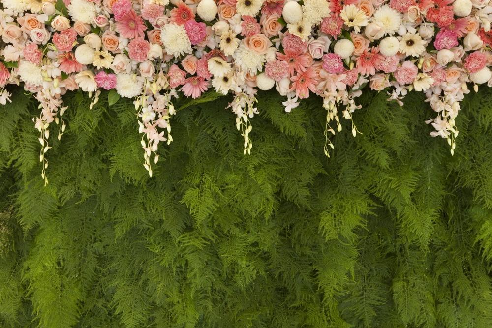 HUAYI floral boda fotografía fondo rosa hojas verdes con flores nupcial ducha invitación banner FONDO PARA sesión de fotos LW-1162