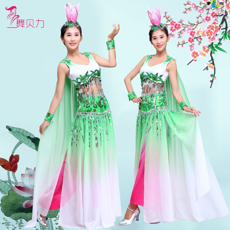 Chinese folk dance costumes  lotus fan yangko dance performance classical dance stage performance fl