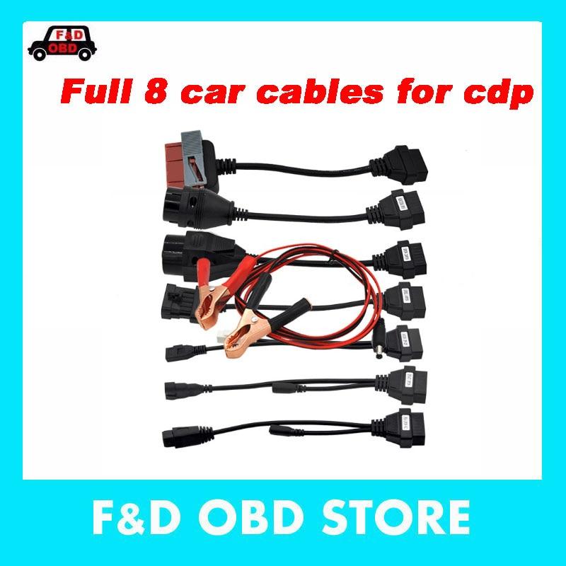 OBD obd2 juego completo 8 cables de coche tcs CD-P Plus cable de coche 8 cables de interfaz de herramienta de diagnóstico de coche para autocom C/DP Del phi DS-150E