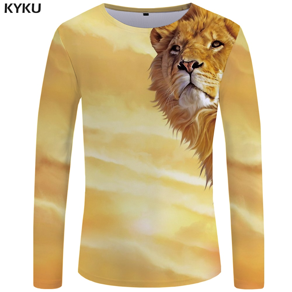 KYKU Lion Long T-shirt Men Yellow Animal T Shirt Space 3d Print T Shirt Hip Hop Long Sleeve Shirt Punk Rock Mens Clothing New