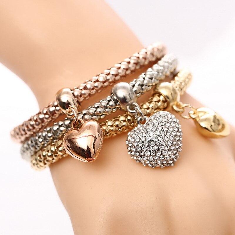3 шт./компл., браслеты с подвеской в виде совы, сердца, золотого/серебряного сплава, подвески в виде якоря, браслеты со стразами для женщин