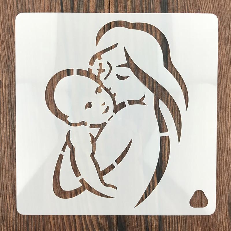 7 Uds Amor de mamá de hueco capas plantillas para pintura de la pared álbum de recortes estampado álbum de grabador de relieve para tarjetas de papel
