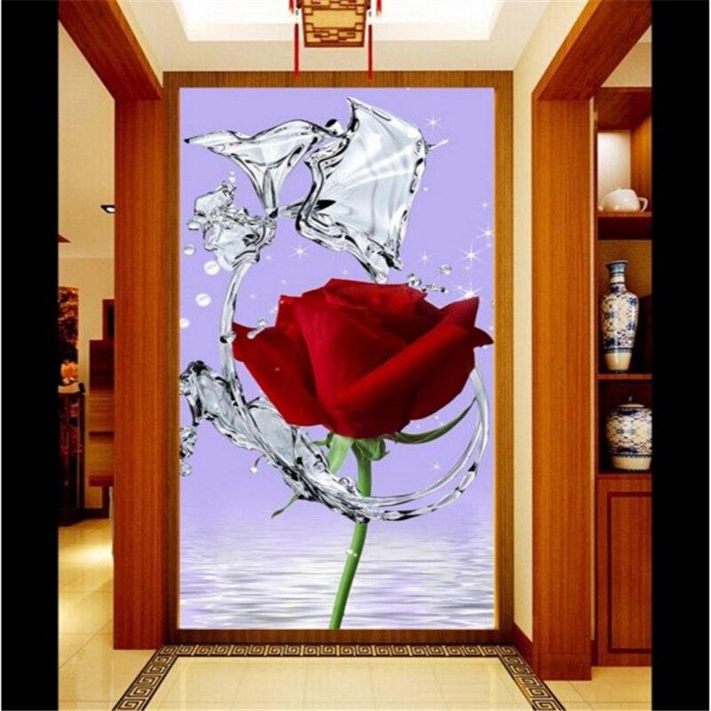 Papel de pared de beibehang, hermosa flor de agua, rosa roja, reflejo, entrada, porche, en busca de murales, papel de pared, paisagem 3d