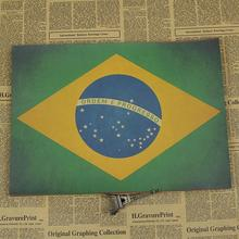 Affiche de drapeau national du brésil   Papier kraft classique, vintage, autocollant mural de décoration pour salon, carte de peinture pour bar café