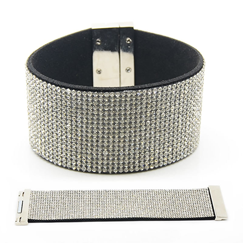 Chanfar Wide Velvet Full Rhinestone Crystal Paved Wrap Bracelets For Women Wedding Bracelets Bangles Jewelry