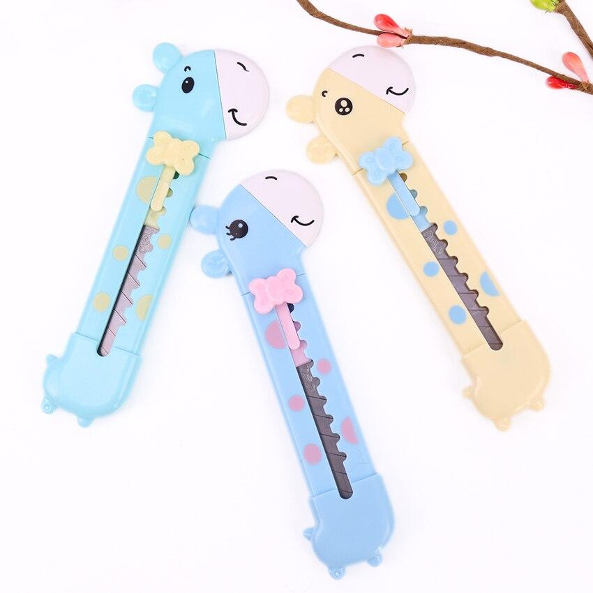 1PC biurowe Cartoon sztuki projektant nóż dla dzieci Art nóż nożyk do listów żyrafa z tworzywa sztucznego piękny nóż do cięcia