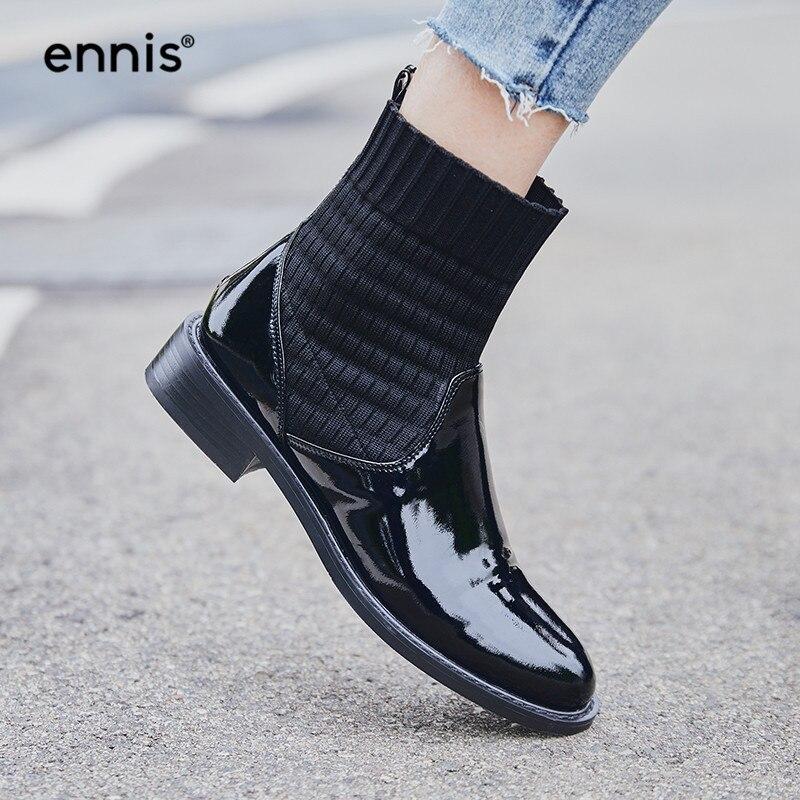 ENNIS 2019 otoño botas mujer tobillo calcetín tejer botas cuero genuino negro botas tacón bajo charol zapatos moda A947