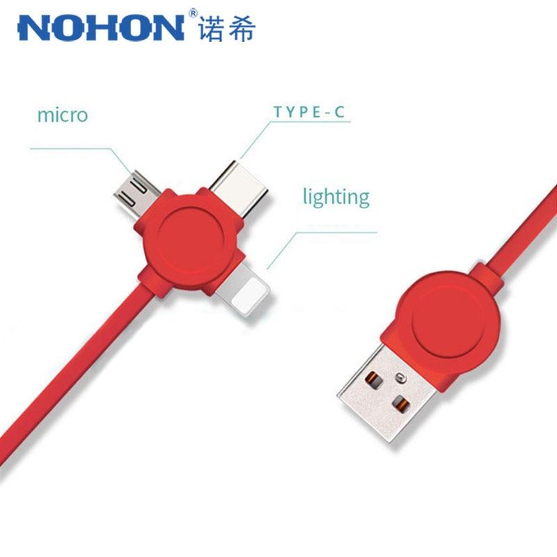 NOHON 3 в 1 USB кабель Тип C освещение зарядный кабель для iPhone X 7 8 Plus IOS для Xiaomi Huawei Samsung Быстрая зарядка кабели 1 м