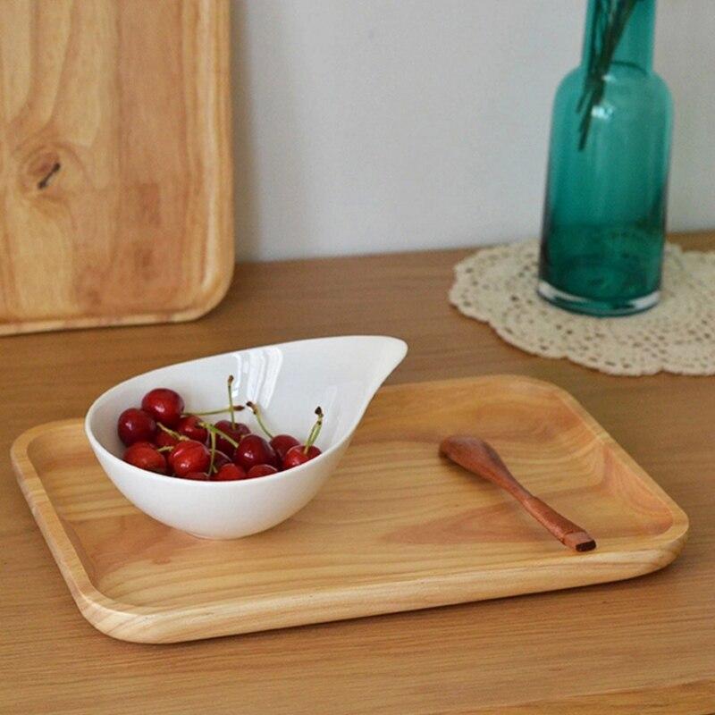 Bandeja Rectangular de madera sólida de 1 pieza, vajilla de plato de fruta de madera de caucho con pintura protectora de madera de grado comestible, dos tamaños