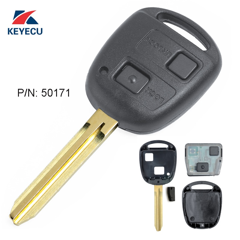 Reemplazo Keyecu llave de control remoto Fob 2 botón 433MHz 4D67 Chip para Toyota RAV4 Prado Tarago P/N 50171