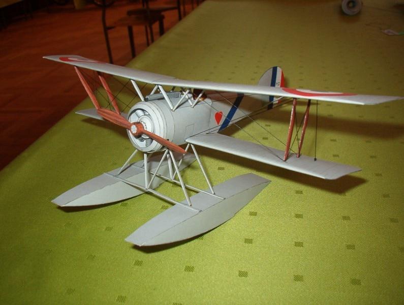 DIY Papier Modell Französisch Floatplane Hanriot Hd-2 WW I Junge Geschenk Papercraft 3D Puzzle