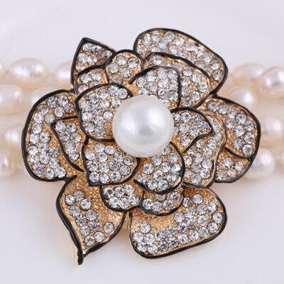 Flor imitación perla oro-Color broche diamantes de imitación broches para mujer Pin solapa mujeres boda bufanda Clip Hijab Pin