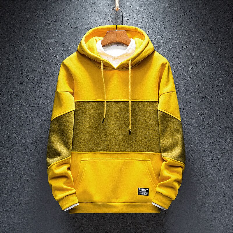 Sudaderas con capucha de Hip Hop para hombre, Sudadera con capucha cálida para otoño 2018, sudaderas de moda para hombres, negro, amarillo más, talla 4XL S235