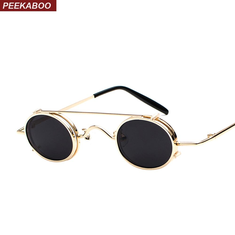 Peekaboo small oval sunglasses women retro vintage 2018 metal frame silver gold black punk clip on sun glasses for men gift