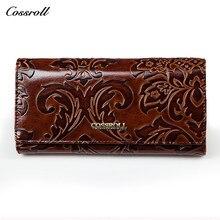 Cuir véritable rouge portefeuille Crocodile femmes multifonction femmes sac à main Carteira Feminina Billetera dames magique portefeuilles carte